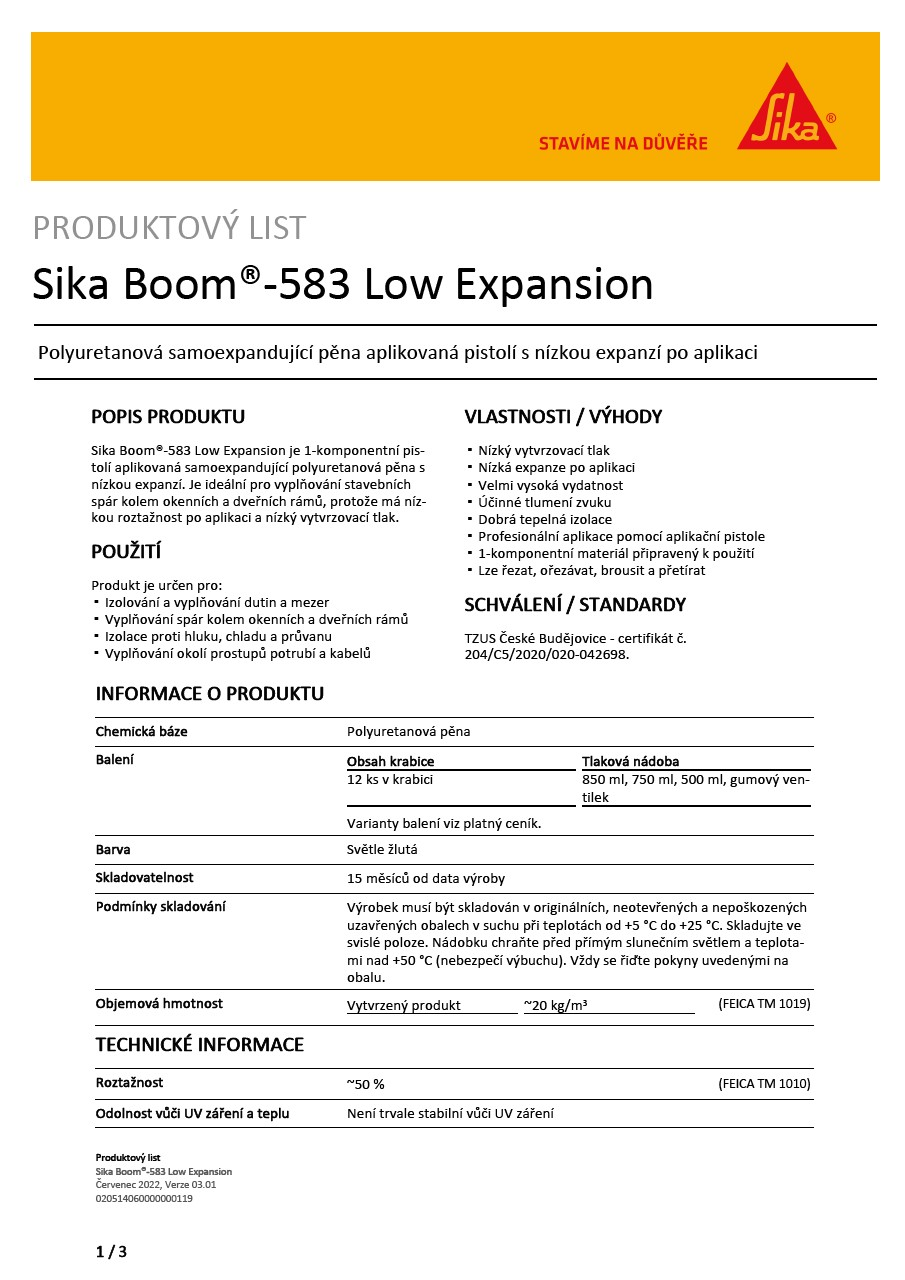Sika Boom®-583 Low Expansion