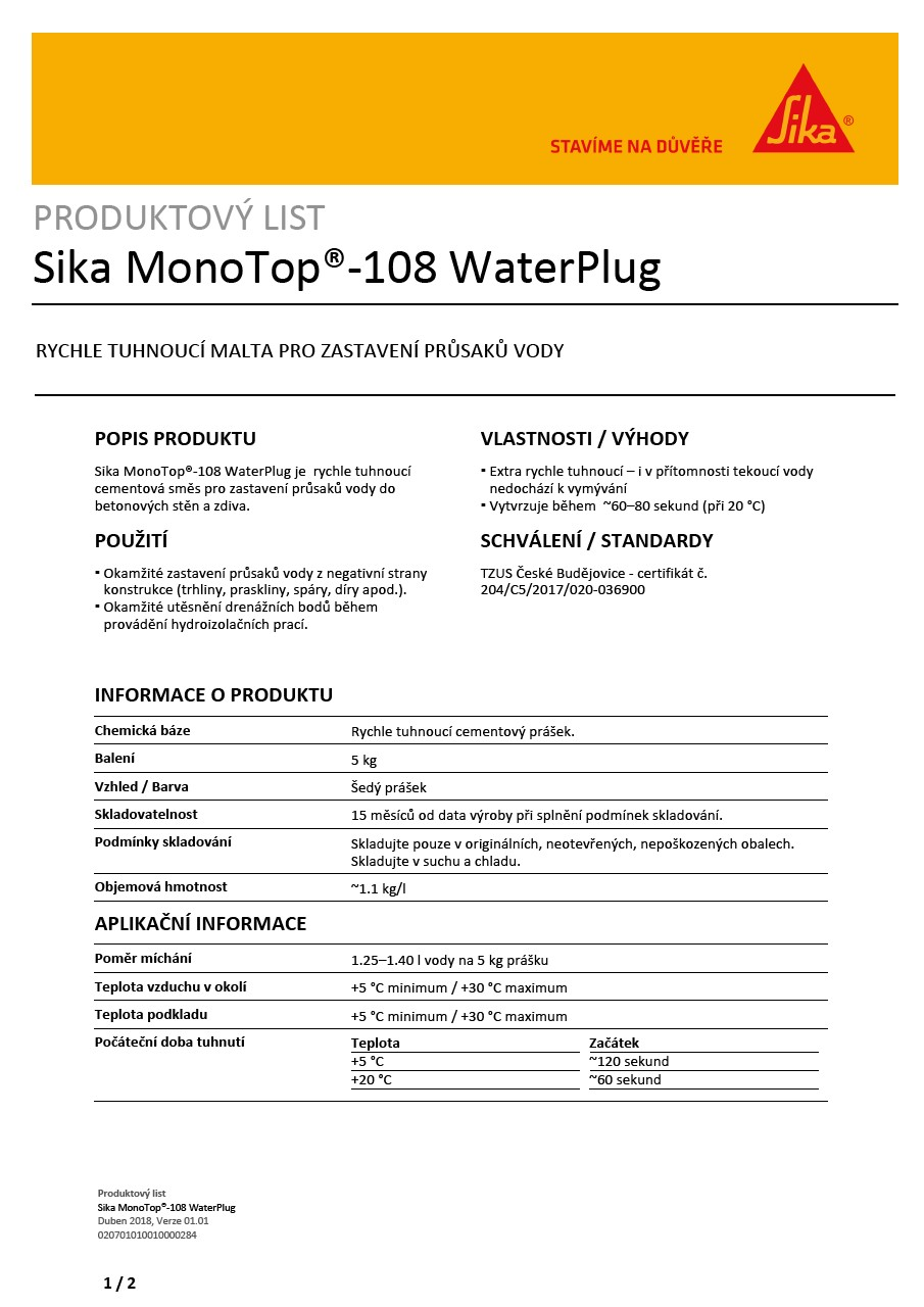 Sika MonoTop®-108 WaterPlug